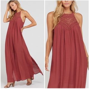 Brick Lace Motif Halter Crochet Gauze Maxi Dress